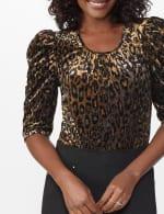 Roz & Ali  Puff Sleeve Velvet Burnout Knit Top - 5