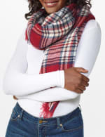 "Cozy Red Plaid Blanket Scarf ""Can Be Worn Six Ways"" - Red - Front"