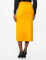 Side Slit Pull-On Pencil Skirt with Button Detail - Gong - Back
