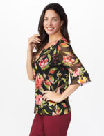 Westport Floral Mesh Ruffle Sleeve Top - 4