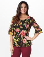 Westport Floral Mesh Ruffle Sleeve Top - 6