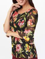 Westport Floral Mesh Ruffle Sleeve Top - 5