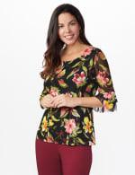 Westport Floral Mesh Ruffle Sleeve Top - Black Multi - Front