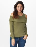 Cold Shoulder Knit Top - Light Olive - Front