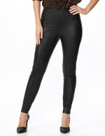 Pull on Faux Leather Pant - Misses - Black - Front