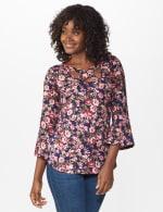 Dressbarn Cold Shoulder Floral Knit Top - 5