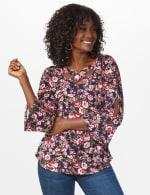 Dressbarn Cold Shoulder Floral Knit Top - 6