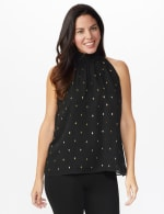 Foil Printed Sleeveless Mock Neck Blouse - Misses - Black - Front