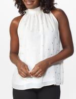 Foil Printed Sleeveless Mock Neck Blouse - Misses - 11