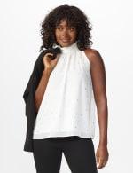 Foil Printed Sleeveless Mock Neck Blouse - Misses - 12