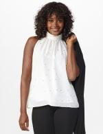 Foil Printed Sleeveless Mock Neck Blouse - Misses - Sugar Swizzle - Front