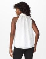 Foil Printed Sleeveless Mock Neck Blouse - Misses - Sugar Swizzle - Back