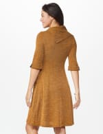Cowl Neck with Buckle Knit Dress - Mustard - Back