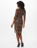 Leopard Faux Wrap Dress - Brown - Back