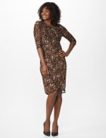 Leopard Faux Wrap Dress - Brown - Front