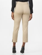 Roz & Ali Solid Superstretch Tummy Panel Pull On Ankle Pants With Rivet Trim Bottom - dune - Back