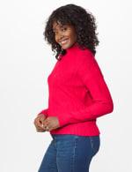 Roz & Ali Funnel Neck Cable Sweater - 9