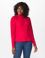 Roz & Ali Funnel Neck Cable Sweater - 11