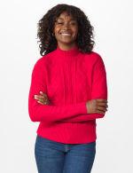 Roz & Ali Funnel Neck Cable Sweater - 12