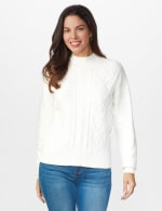 Roz & Ali Funnel Neck Cable Sweater - 5