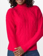Roz & Ali Funnel Neck Cable Sweater - 10