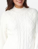 Roz & Ali Funnel Neck Cable Sweater - 4