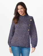 Roz & Ali Novelty Button Pullover Sweater - Navy Multi - Front