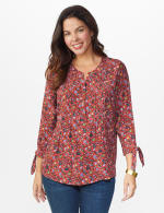 Ditsy Floral Pintuck Woven Popover - Misses - Rust - Front