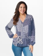 Westport Patchwork Wrap Blouse - Navy - Front