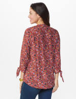 Ditsy Floral Pintuck Woven Popover - Rust - Back