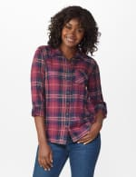 """Burgundy Plaid """"To Tie Or Not To Tie"""" Shirt - Burgundy - Front"""