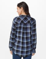 "Denim Friendly Plaid ""To Tie Or Not To Tie"" Shirt - Blue - Back"