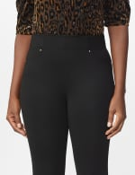 Ponte Pull On Legging with Faux Pockets and Rivet Trim - 4