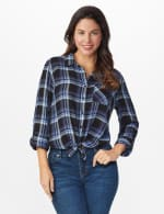 "Denim Friendly Plaid ""To Tie Or Not To Tie"" Shirt - Blue - Front"