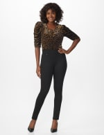 Ponte Pull On Legging with Faux Pockets and Rivet Trim - 8