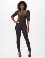 Ponte Pull On Legging with Faux Pockets and Rivet Trim - Misses - Black - Front