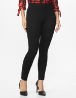 Ponte Pull on Legging with Seam Detail - Black - Front
