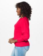 Roz & Ali Novelty Sleeve Stitch Interest Pullover Sweater - 10