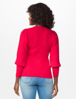Roz & Ali Novelty Sleeve Stitch Interest Pullover Sweater - Lipstick - Back