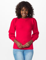 Roz & Ali Novelty Sleeve Stitch Interest Pullover Sweater - Lipstick - Front