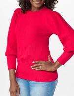 Roz & Ali Novelty Sleeve Stitch Interest Pullover Sweater - 11