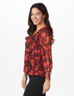 Roz & Ali Floral Tie Sleeve Bubble Hem Blouse - 4