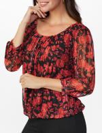 Roz & Ali Floral Tie Sleeve Bubble Hem Blouse - 5
