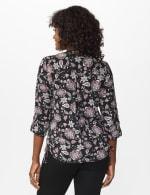 Roz & Ali Floral Side Tie Popover Blouse - Black/Mauve - Back
