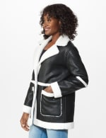 Sherpa Bonded Faux Leather Coat - 4