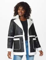 Sherpa Bonded Faux Leather Coat - 6