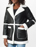 Sherpa Bonded Faux Leather Coat - 5