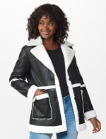 Sherpa Bonded Faux Leather Coat - Black/Natural - Front