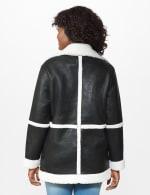 Sherpa Bonded Faux Leather Coat - Black/Natural - Back