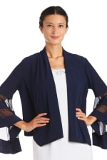 Draped, Open Jacket with Full Sleeves and Sheer Inserts - 5